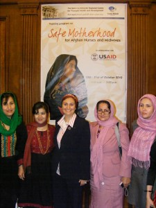 Afghan midwives with their Egyptian trainer at the end of the USAID/Afghanistan funded capacity building training held in Egypt. Photo Credit: USAID/Egypt