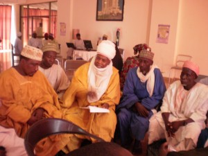 Traditonal and religious leaders in Bauchi State meet with officials to explore how leaders can work with government to improve community health care. Photo Credit: USAID/ Nigeria