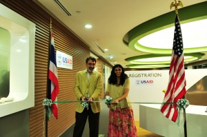USAID Assistant Administrator for Asia Nisha Desai Biswal and RDMA Mission Director Olivier Carduner cut the ribbon at the introduction ceremony for the new joint USAID-State Asia Regional Training Center, or ARTC, in Bangkok, Thailand. Photo Credit: Nipattra Sanguannuan/USAID