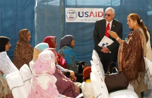 Deputy USAID mission director Rodger Garner is speaking to the lady health workers; Sakina Shanwari, supervisor of the lady health workers, thanks the American people.