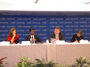 Susan Reichle, Assistant to the Administrator for USAID's Bureau of Policy, Planning and Learning (PPL) (far left) speaks at the Center for Strategic and International Studies.