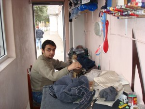 Anver Tagiyev tailoring at his workshop. Photo Credit: llgar Ahmadov Social worker, Goygoy CFSC (Child and Family Support Center).