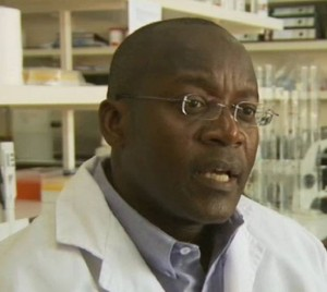 "Dr. Omu Anzala of the Kenya AIDS Vaccine Initiative (KAVI) during an interview for the 2007 documentary HIV/AIDS: the search for a vaccine.  The documentary originally aired as part of BBC World's ""Kill or Cure?"" series. Credit: KAVI"