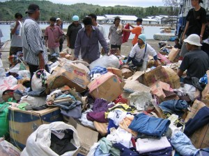 Clothing donations abandoned in Banda Aceh in the aftermath of the 2004 tsunami. Photo credit: USAID