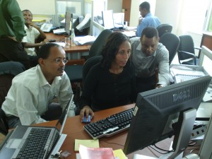 Yodit Assefa (center) and procurement colleagues from PEPFAR's Supply Chain Management System (SCMS) Photo credit: SCMS