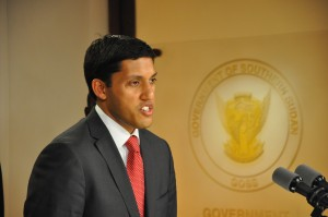 USAID Administrator Rajiv Shah at a press conference in Juba on May 7th. Photo Credit: Government of Southern Sudan.
