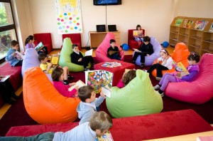 Children reading in Green School's library. Photo Credit: USAID/Kosovo