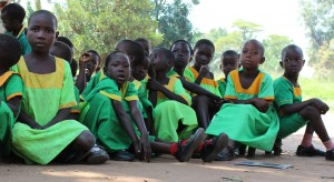As universal access to primary education takes shape in South Sudan, families are eager to send their children to school as long as qualified teachers are present. School girls in Nagagwu, Western Equatoria State of South Sudan on September 8, 2011. Photo Credit: Ezra Simon/USAID