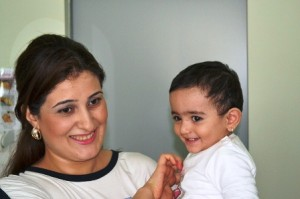 Aishan, pictured with her mom Narmina, weighed only 1kg when she was born. Narmina's delivery was a special case, requiring an emergency Cesarean section. Aishan was born premature and required critical care to help her breathe and intravenous feeding to support her growth. Thanks to the quick thinking of the skilled staff at the Azerbaijan Republican Perinatal Center, both mom and baby are healthy and thriving today. USAID's support to train the Center's obstetricians, neonatologists, midwives, and nurses in routine delivery and newborn care and managing complications contributed to the successful outcome. USAID's partnership with the Ministry of Health and Republican Perinatal Center already has helped save the lives of many babies, including Aishan.Photo credit: Arunas Liubsys / USAID Primary Health Care Strengthening Project