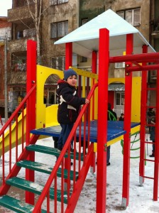 The new playground is a great facility for children of the neighborhood, full of brightly colored new equipment. The climbing tower is an obvious hit! Photo Credit:Ruzica Bozovic of the USAID/DEMI program