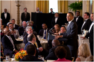 President Obama addresses the audience at the 3rd Annual White House Easter Prayer Breakfast.  Photo Credit: USAID