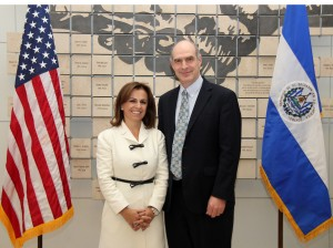 The First Lady of El Salvador and Secretary of Social Inclusion Vanda Pignato meets with Assistant Administrator for Latin America and the Caribbean Mark Feierstein