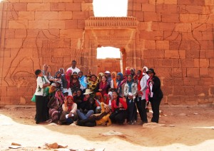 The students visiting the temple at Naqa, a ruined ancient city of the Kush Kingdom, north of Khartoum.  The exchange included field trips to great Sudanese historical sites to teach the students about their common identity and culture.  Photo Credit: USAID/Sudan