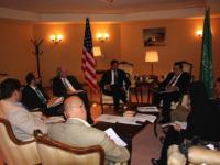 Administrator Shah, USAID Yemen Mission Director Robert Wilson, and U.S. Embassy Riyadh Spokesman Mofid Deak meet with U.S. and international press.