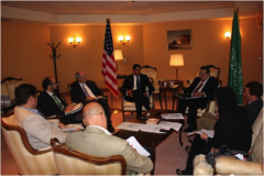 Administrator Shah, USAID Yemen Mission Director Robert Wilson, and U.S. Embassy Riyadh Spokesman Mofid Deak meet with U.S. and international press.