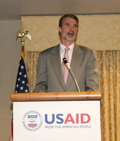 Chris Milligan delivers remarks following his swearing-in as mission director to Burma. Photo Credit: Patricia Adams/USAID