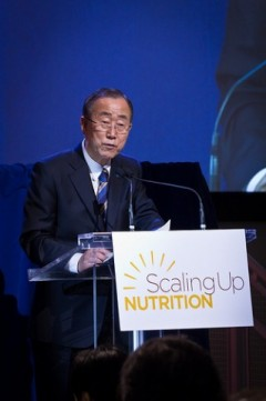 Secretary General Ban Ki-moon addresses the 2nd Annual High-level Meeting on Scaling Up Nutrition Photo by UNIC / John Gillespie