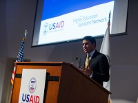 Administrator Rajiv Shah speaks at USAID's Higher Education Solutions Network (HESN) Launch on November 9, 2012.  Photo Credit: Rodney Choice