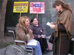 Two women conducted a street poll on disability issues for a disability inclusiveness project in Armenia. Photo Credit: World Vision