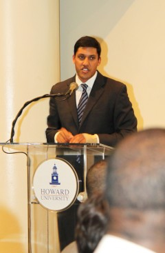 Administrator Rajiv Shah speaks to students at Howard University on October 15, 2012. Photo Credit: Patricia Adams, USAID.