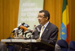 Ethiopia's Minister of Foreign Affairs Dr. Tedros Adhanom opens the African Leadership for Child Survival meeting in Addis Ababa, Ethiopia. Photo credit: UNICEF