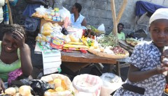 Vendors sell their wares March 24, 2011, at a market in Cap-Haïtien, Haiti. Photo credit: Kendra Helmer, USAID.