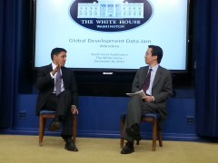 Administrator Shah and CTO Park discuss open data's impact in development. Photo Credit: USAID.
