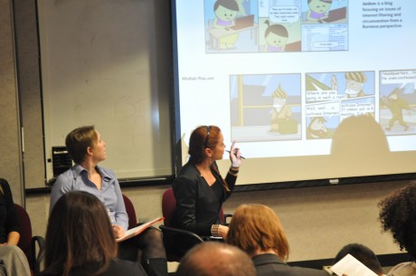 Kathleen Reen (right) of Internews explains the importance of digital security at USAID's panel on social media and development. Photo credit: USAID