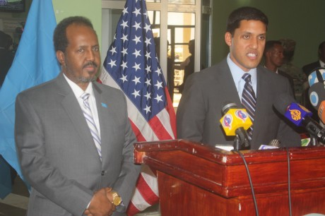 Administrator Shah addresses President of Somalia. Photo credit: USAID
