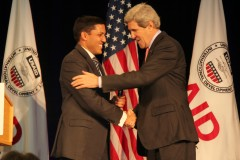 Administrator Rajiv Shah welcomes Secretary of State John Kerry to USAID. Photo credit: Pat Adams, USAID