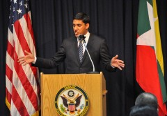 Dr. Rajiv Shah, USAID Administrator, spoke of USAID's commitment to engaging with civil society groups in Burma to support reforms. March 7, 2013. Photo credit: Richard Nyberg/USAID