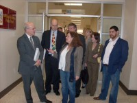 Deputy Administrator Donald Steinberg (far left) and Guatemalan Attorney General Claudia Paz (center) visit the 24-hour Femicide Court in Gerona in October 2012. Photo credit: USAID files
