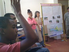 High schoolers in Samana, Dominican Republic learn about climate change so they can help educate others in their community, in a USAID mission funded adaptation project. Photo credit: Nora Ferm, USAID