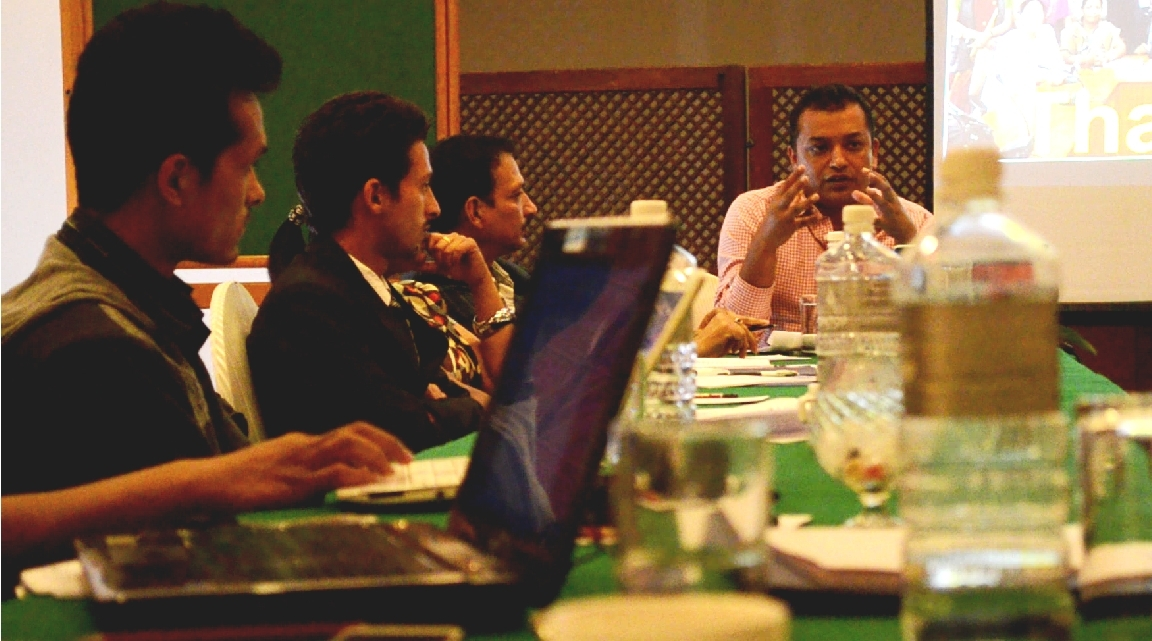 "Former Parliamentarian and Politician Gagan Thapa joined the ""Earth Matters Workshop"" to discuss the environmental issues and challenges in the Constituent Assembly and reiterated the important role media plays in raising public awareness and influencing policy discourse and action.  Photo credit: Fungma Fudong, USAID Nepal"