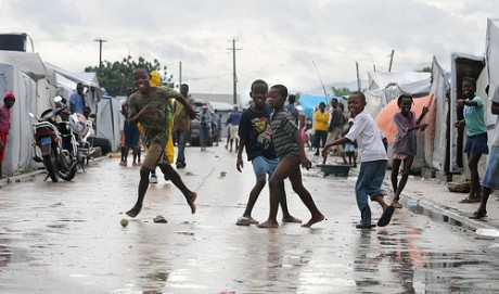 Aftermath of hurricane tomas at camps for internally displaced people