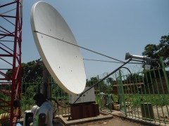 Satellite communications equipment at Niangara cellular tower site. Photo credit: Vodacom Congo