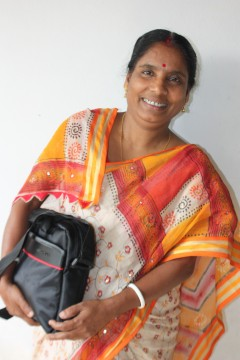 Puspa Rani Paramdar, a community health worker, said she felt empowered with information and knowledge after she received the netbook. Photo credit: Bangladesh Knowledge Management Initiative