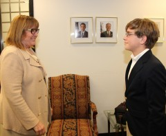 USAID Innovation Officer meets young innovator Chase Lewis. Photo Credit: USAID