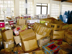 Unsolicited donations delivered to Samoa after the 2009 earthquake and tsunami took up space needed by relief organizations to sort and deliver vital emergency supplies. Photo credit: Richard Muffley, USAID CIDI