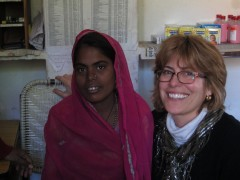 Elizabeth Abu-Haydar, right, with a mother in a prenatal clinic in Rajasthan, India. Photo Credit: PATH/Noah Perin