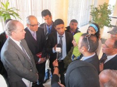 Former USAID/Morocco Mission Director, John Groarke (left), speaks with members of the youth council and local press. Photo credit: USAID