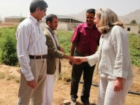 Acting AA Romanowski meets with a Yemini farmer to discuss how USAID's Community Livelihoods Project is helping Yemen's agricultural sector. Photo credit: Dorelyn Jose, USAID/Yemen CLP