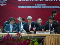 U.S. Secretary of State John Kerry (center) and USAID Assistant Administrator for Asia Greg Beck (right) at the Lower Mekong Initiative Ministerial. Photo credit: William Ng, State Department
