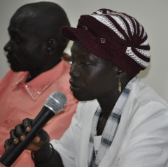 Mary Konyo (right) testifies on the benefits of using misoprostol to reduce severe bleeding after childbirth.   Photo: Victor Lugala