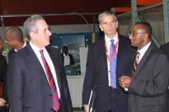 United States Trade Representative Michael Froman (left) and USAID Assistant Administrator for Africa Earl Gast (center) discuss renewable energy technologies with Daniel Gizaw, CEO and President of dVentus Technologies during a visit to the company's facility in Addis Ababa, Ethiopia. Photo Credit: Daniel Mesfin, U.S. Embassy Ethiopia