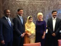 Administrator Shah with Malala Yousafzai; Alhaji Aliko Dangote, founder of the Dangote Group (far left); Christie Vilsack, USAID Senior Advisor for International Education; and Malala's father (far right). Photo credit: USAID