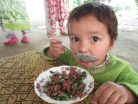 A young boy in Tajikistan eats a healthy lunch. Photo credit: USAID