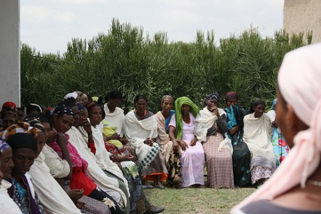 Women gather at a health post in Ethiopia. USAID trains and supports health extension workers across Ethiopia's health system in the most populous regions of the country. Photo credit: Nena Terrell, USAID Ethiopia