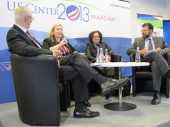 Panelists at UN's climate change negotiations in Warsaw. From left to right: Andrew Steer, WRI, Kit Batten, Nancy Sutley, CEQ and Jonathan Pershing from DOE. Photo credit: Andrea Welsh, USAID
