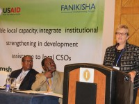Lisa McGregor-Mirghani, Local Capacity Team Lead for USAID in Kenya, speaking at the Institutional Strengthening Symposium in Nairobi. Photo credit: USAID